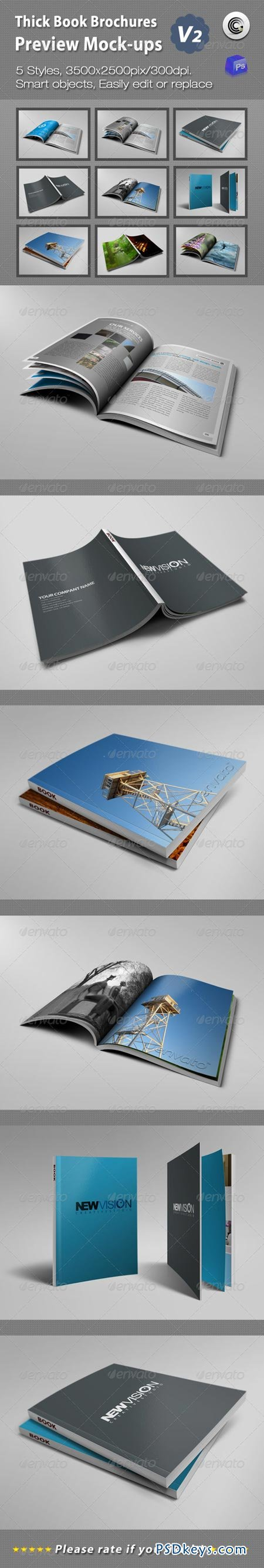 Thick Book Brochures Preview Mock-Ups V2 1866029