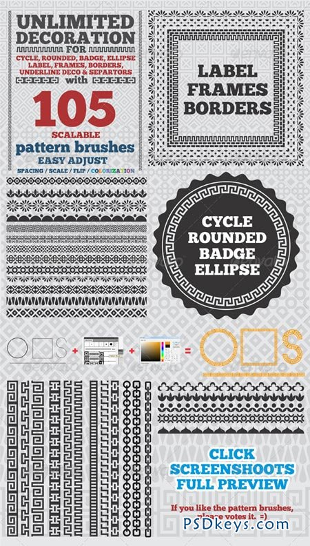 105 Borders Cycle Patterns Brushes for Illustrator 4423054