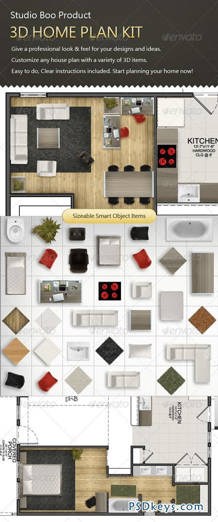 3D Home Plan Kit 1299158