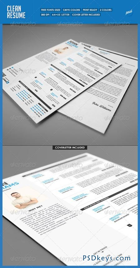 Clean Resume Vol.1 5282934 » Free Download Photoshop Vector Stock ...