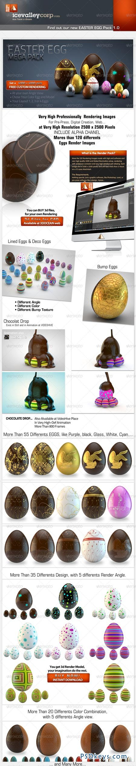 Easter Eggs Pack 001 3d Realistic 2066900