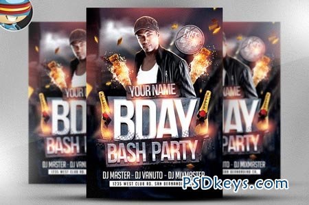 Bday Bash Flyer Template    Free Download Photoshop Vector