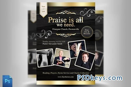 Church Flyer Template   Free Download Photoshop Vector Stock