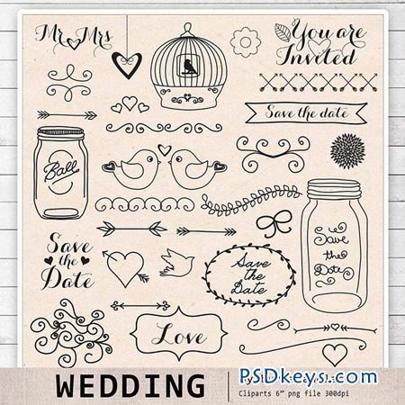 Hand Draw Wedding Clipart 27958 Free Download Photoshop Vector Stock Image Via Torrent