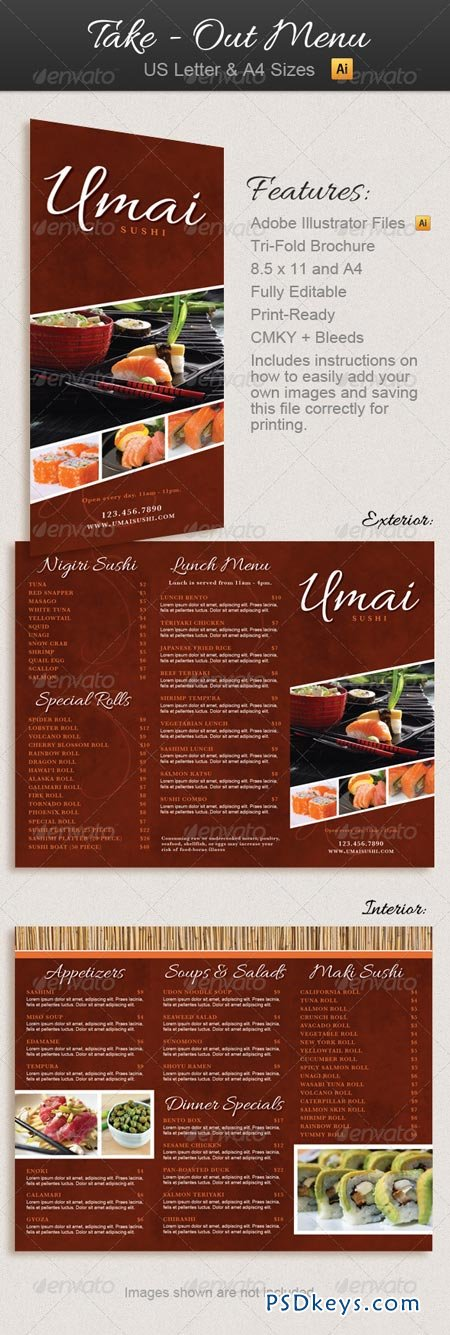 Restaurant Take-Out Menu Trifold Brochure 2658731