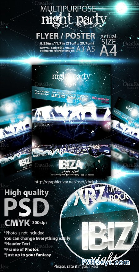 Sleepless Night Party Flyer 6274