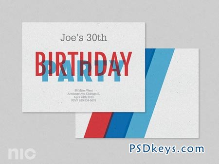 Red Blue Birthday Invitation 12642