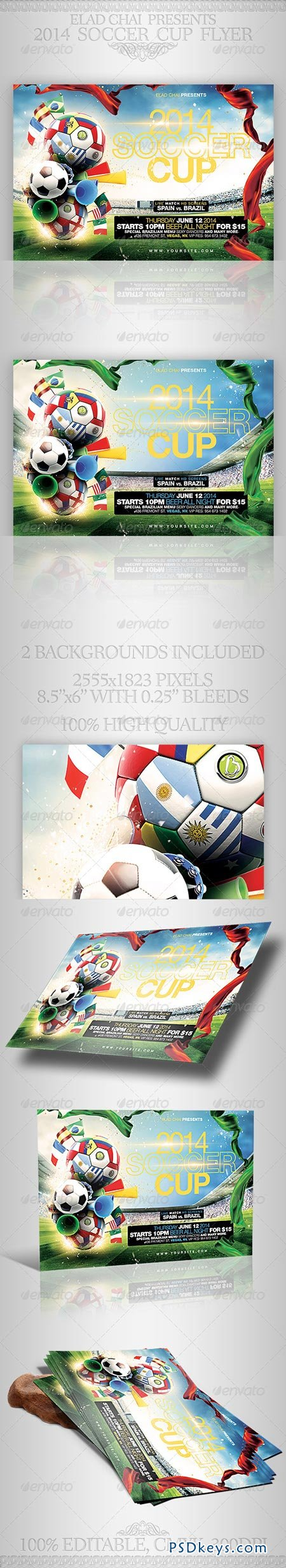 Brazil 2014 Soccer Football Cup Flyer Template 7092228