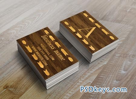 Wood & Gold Foil Arrow Business Card 22518