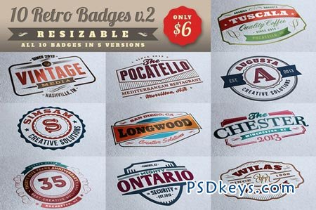 10 Retro Signs or Badges v.2 + Bonus 10440
