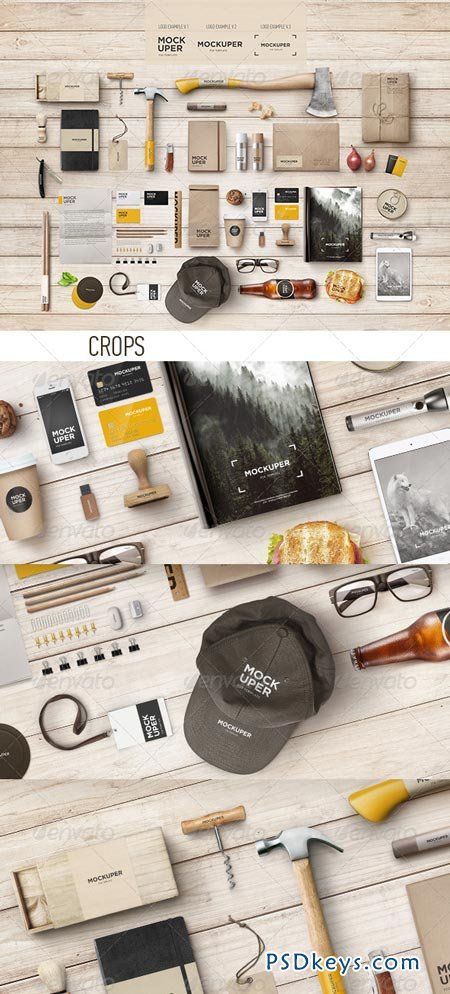 Brutal Wood Branding Mock-Up (PSD) 7374379
