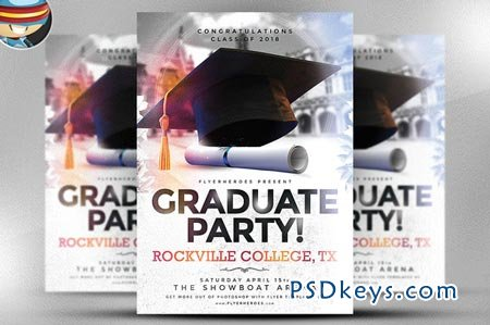 Graduate Party Flyer Template   Free Download Photoshop Vector