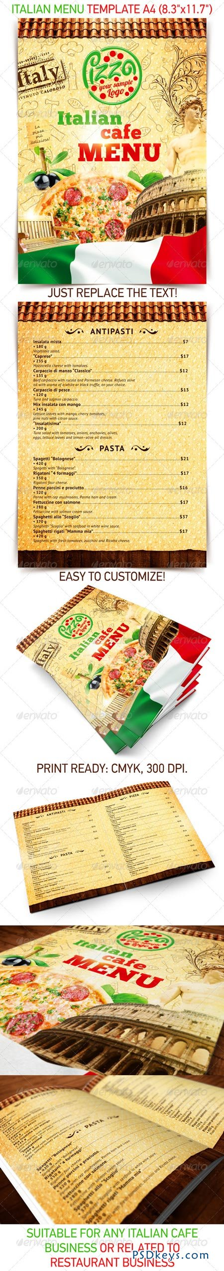 Italian menu template 2502533 » Free Download Photoshop Vector ...