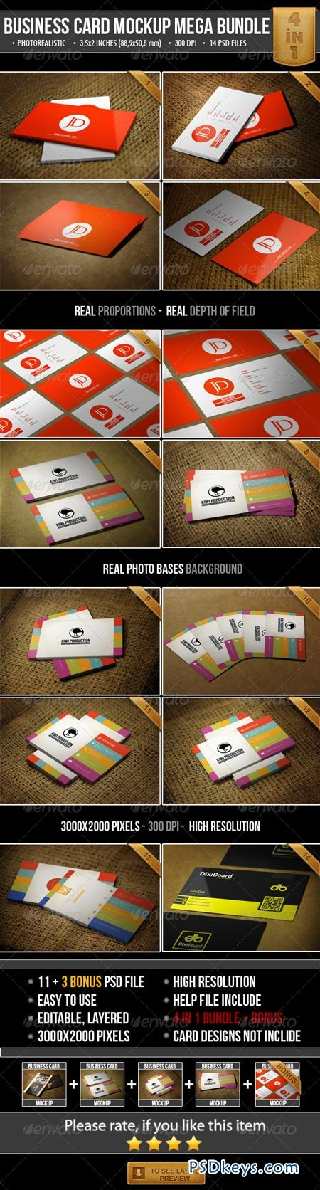 Realistic Business Card Mock-Up Bundle 4948801