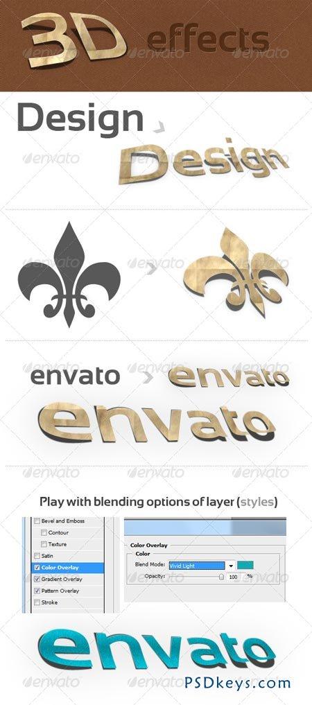 3D Photoshop Action v.1 (paper effect) 141657