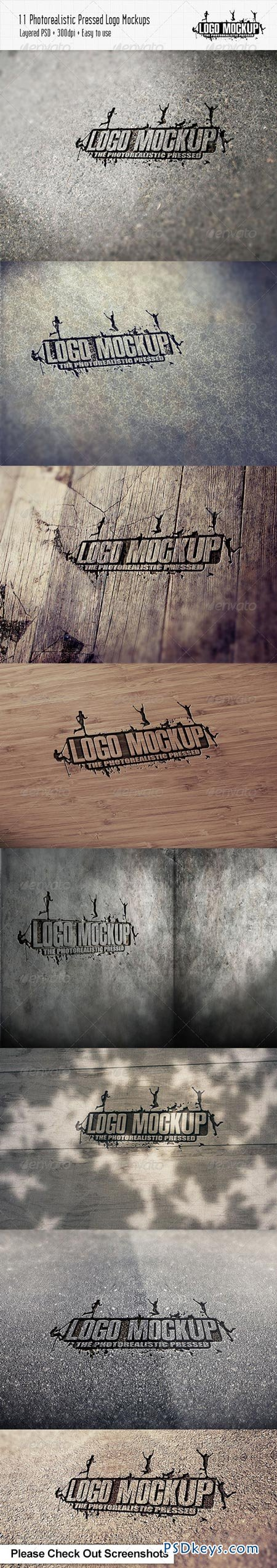 11 Photorealistic Pressed Logo Mock-Ups 3709656