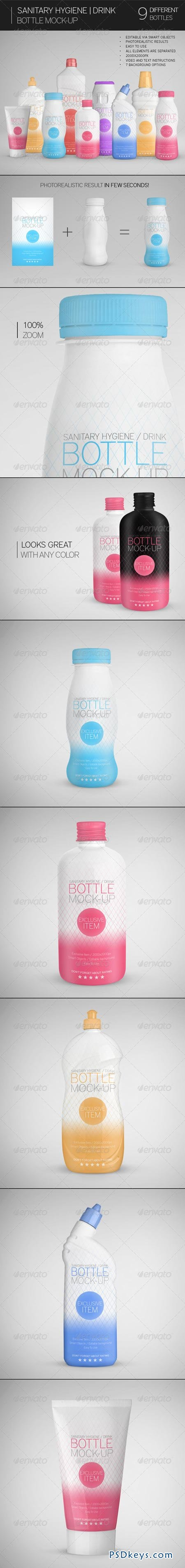 Sanitary Hygiene Drink Bottle Mock-Up 7659409