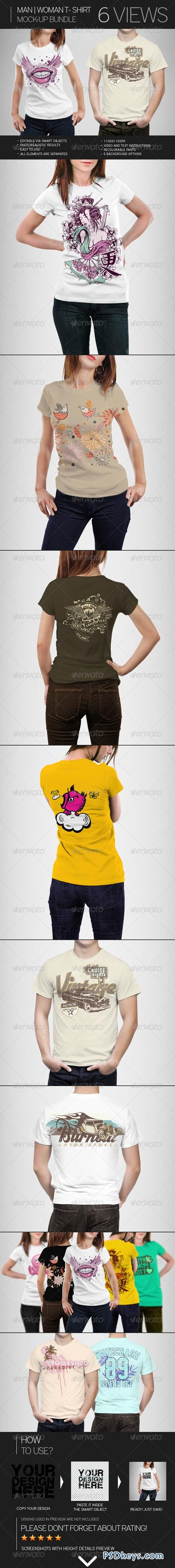Man Woman T-Shirt Mock-Up Bundle 7666529