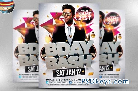 Bday Bash Flyer Template 22483 Free Download Photoshop Vector