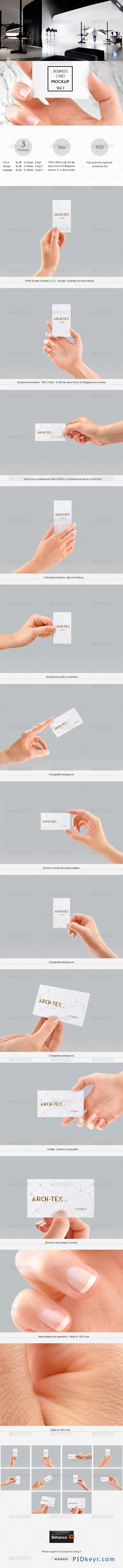 Business Card Mock-up Vol.1 - Hand edition 7839761