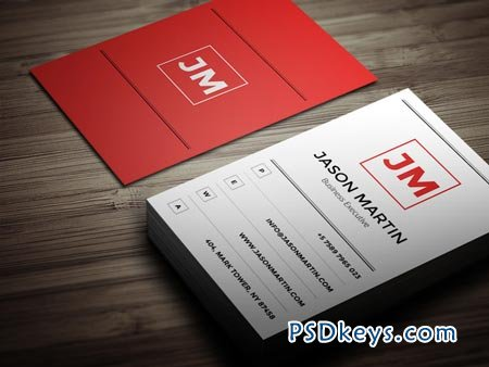 Minimal Red Business Card 22599
