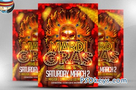 Mardi Gras Party Flyer Template 21885