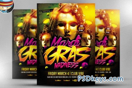 Mardi Gras Madness Flyer Template 21884