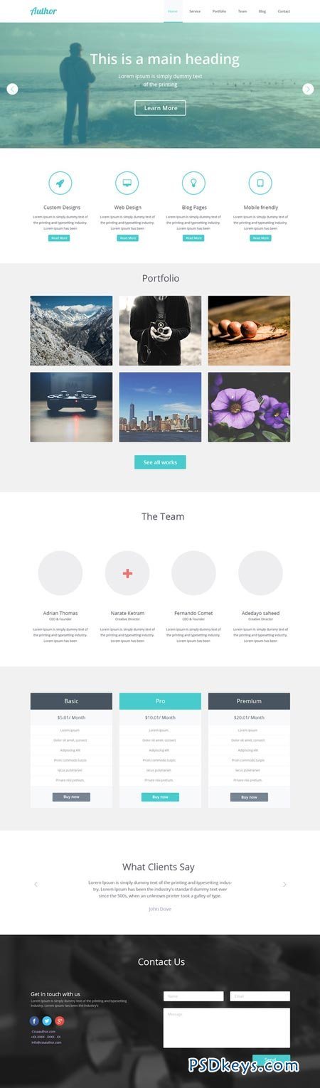 Author One Page PSD Template 21455