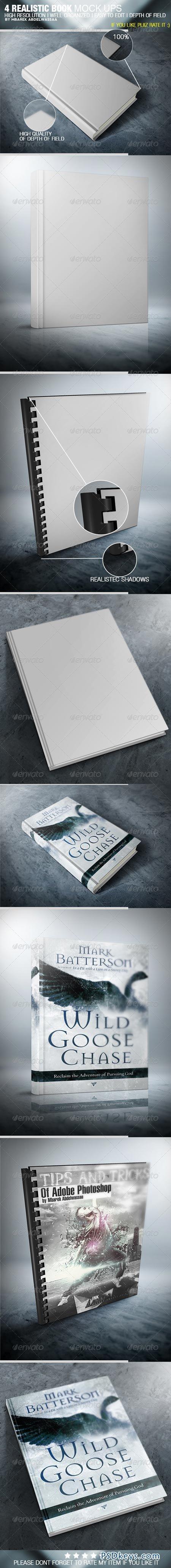 4 Realistic Book Cover Mock Ups 5254703