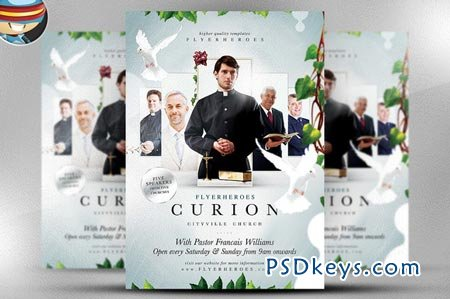 Curion Church Flyer Template   Free Download Photoshop Vector