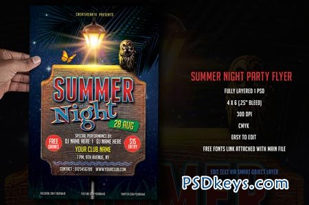 Summer Night Party Flyer 52215