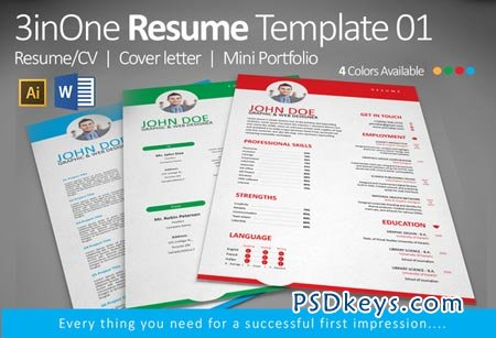 3inone resume template 01 50754 free download photoshop vector