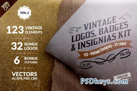 Vintage Logos, Badges Kit-Value Pack 50103