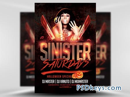 Sinister Saturdays Flyer Template