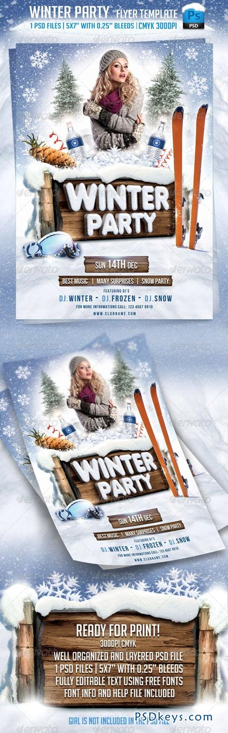 Winter Party Flyer Template 5923180 » Free Download Photoshop