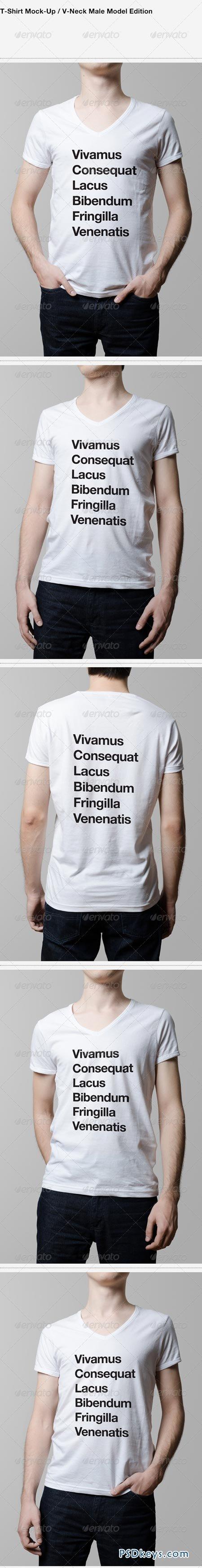 T-Shirt Mock-Up V-Neck Male Model Edition 6215597