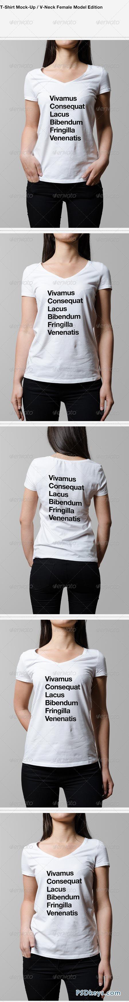 T-Shirt Mock-Up V-Neck Female Model Edition 6371868