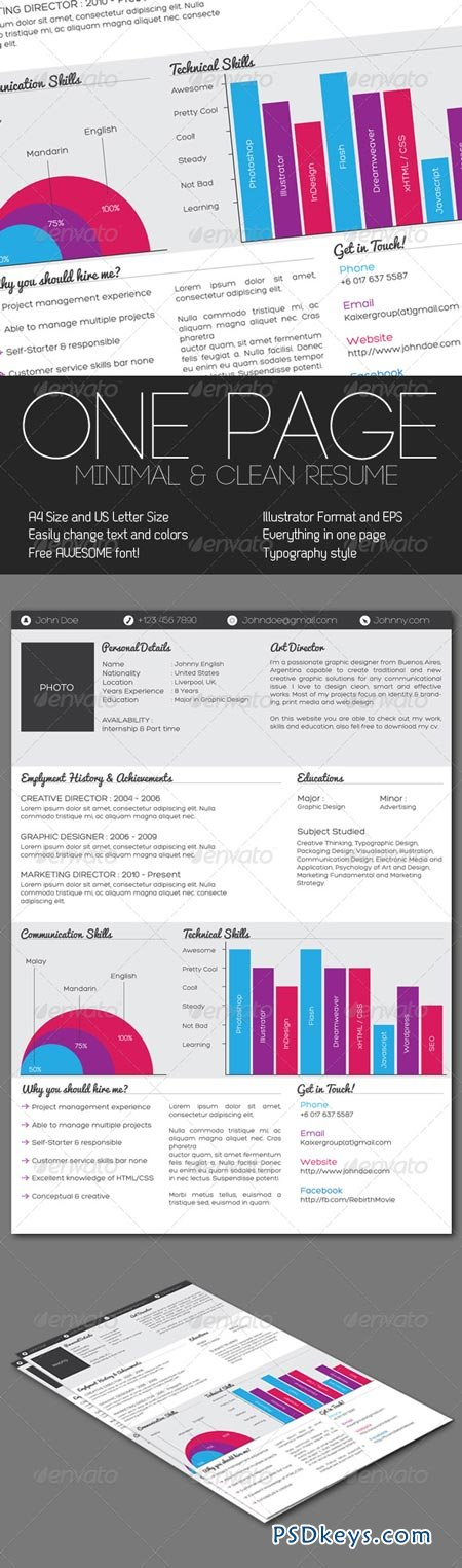 Clean One Page Resume 238068