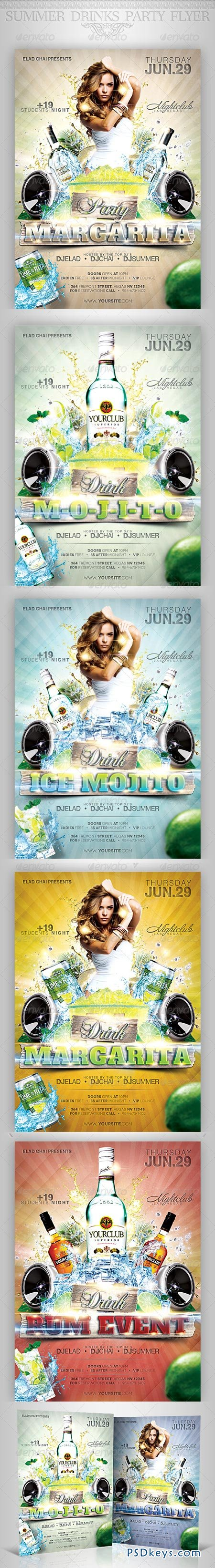 Summer Drinks Event Party Flyer 2573508