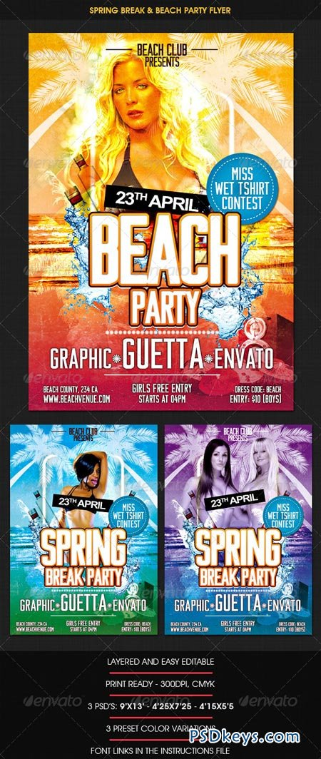 Spring Break  Beach Party Flyer   Free Download Photoshop