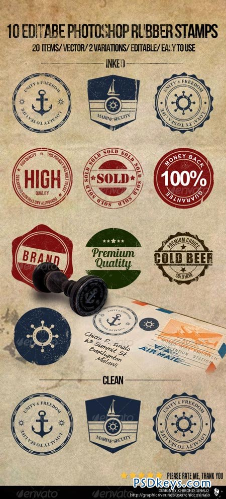 10 Editable Photoshop Rubber Stamps 2427069