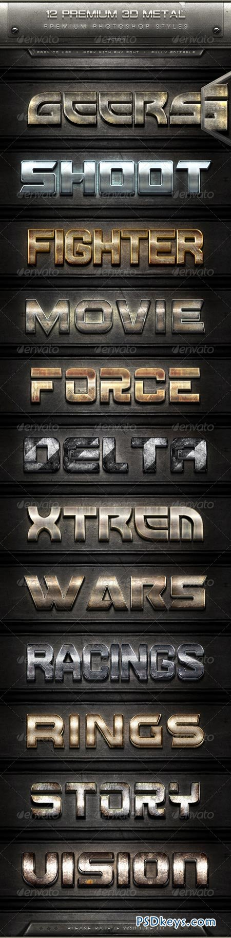 12 Premium 3D Metal Text Effect Styles + Actions 7911489