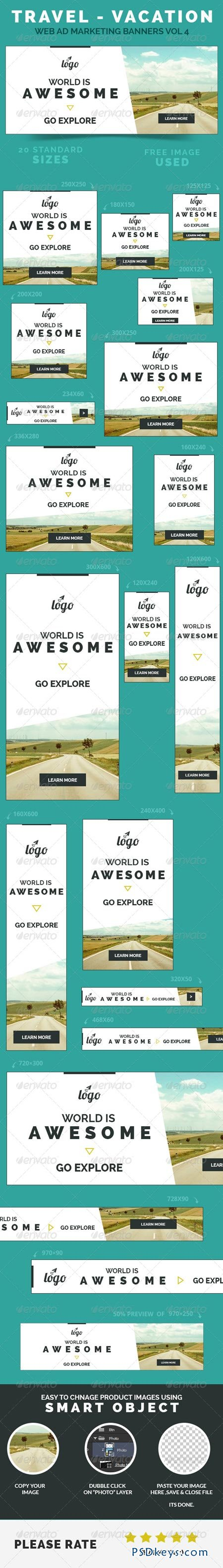 Travel - Vacation Web Ad Marketing Banners Vol 4 8500668