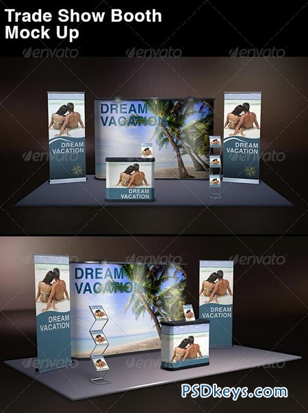 Free Pop Up Exhibition Stand Mockup : Trade show display mock up  free download