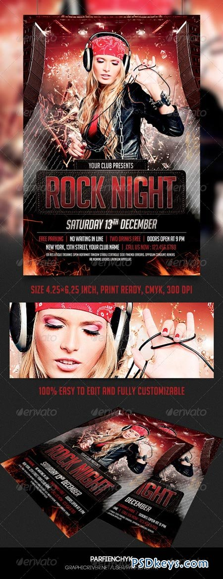 Rock Night Party Flyer Template 8625866
