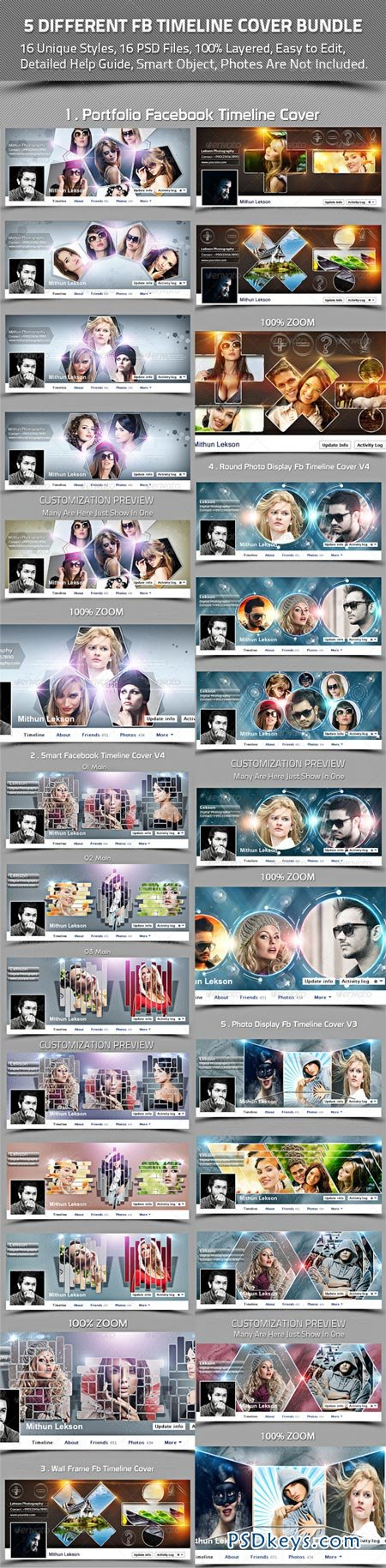 5 Different Facebook Timeline Cover Bundle 8625801