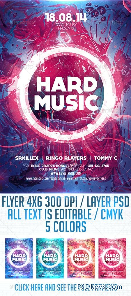 Hard Music Flyer Template 8659196 » Free Download Photoshop Vector