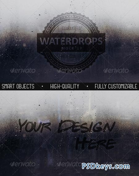 Water Drops Glass Mock-Up 8715048