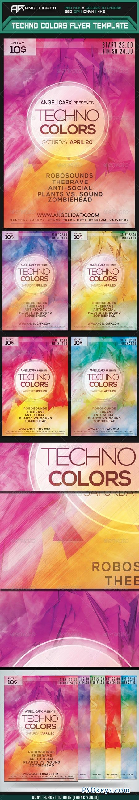 Techno Colors Flyer Template 7415558