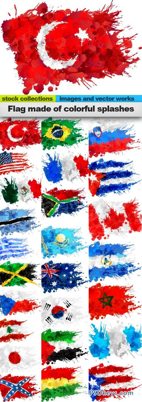 Flag made of colorful splashes 25xEPS